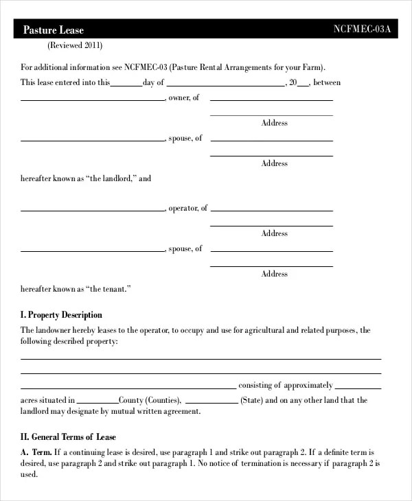 Lease Template \u2013 20+ Free Word, PDF Documents Download Free - Sample Pasture Lease Agreement Template