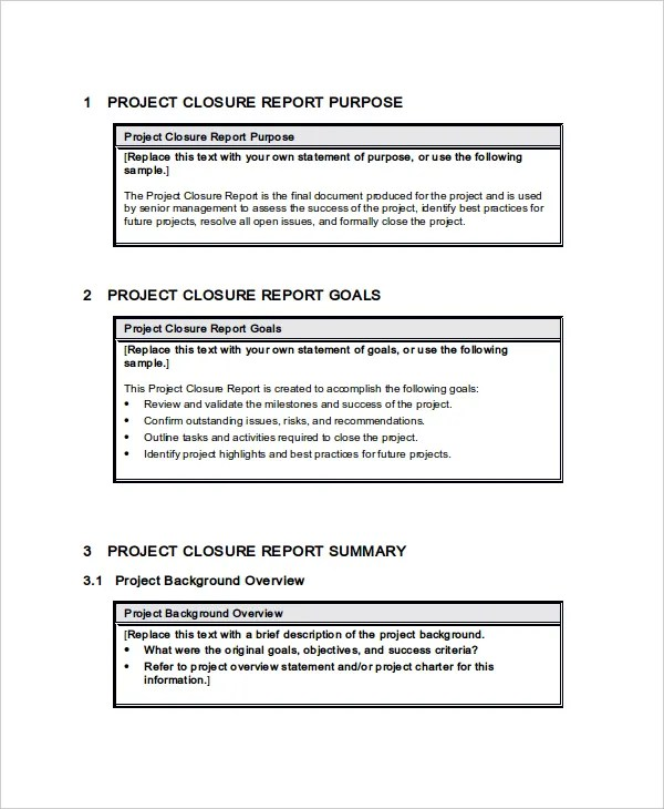 Sample Project ReportProject Closure Report Template Collect - sample project report