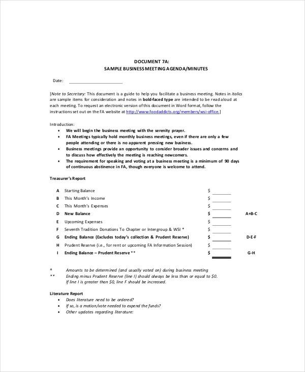 Business Meeting Agenda Template \u2013 10+ Free Word, PDF Documents