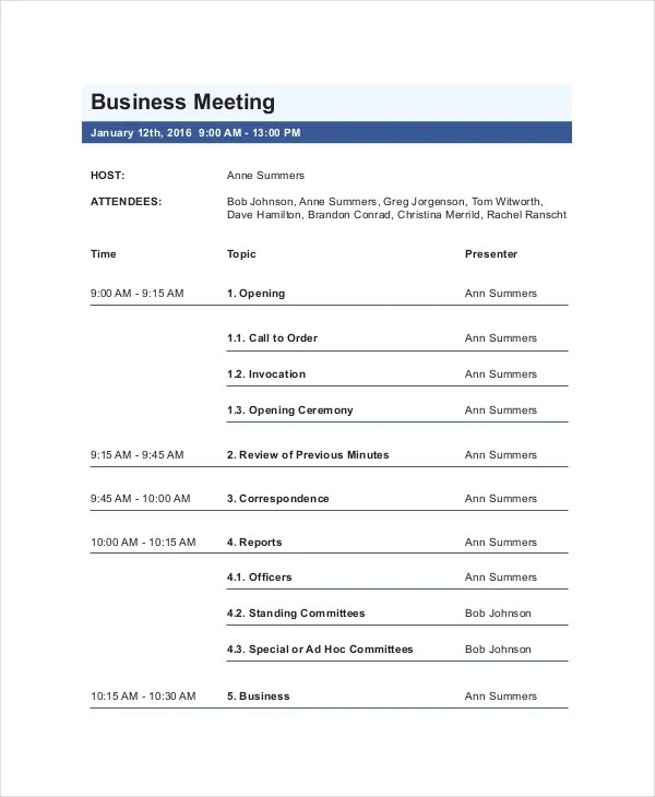 business meeting agenda template - 28 images - meeting agendas exles - meeting agenda outline