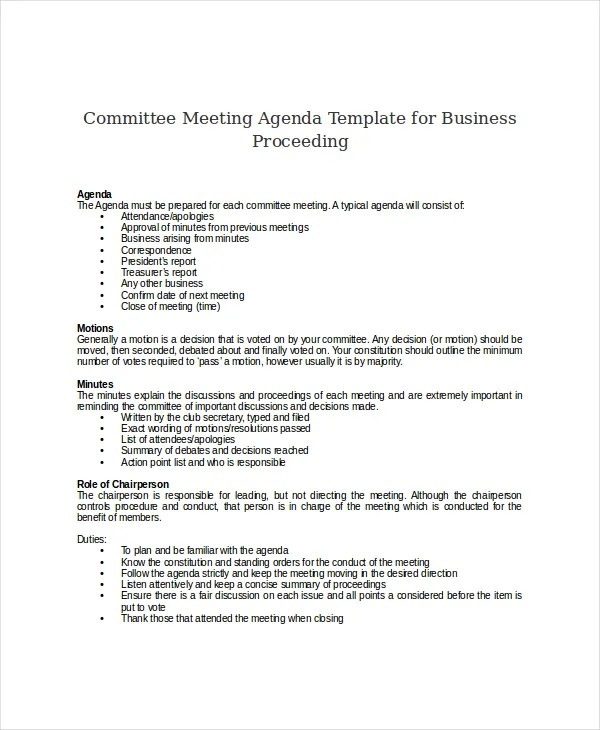 meetings agenda template