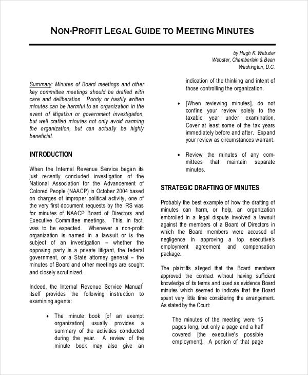 Minute Template \u2013 20+ Free Word, PDF Documents Download Free