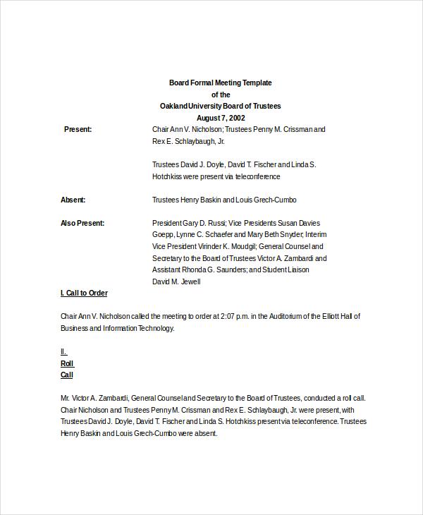 Formal Meeting Agenda Template \u2013 7+ Free Word, PDF Documents
