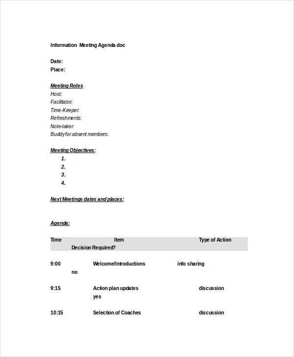 Microsoft Meeting Agenda Template \u2013 10+ Free Word, PDF Documents - microsoft word meeting agenda template