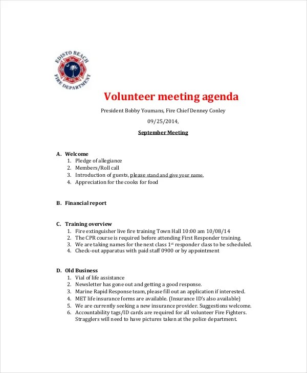 Microsoft Meeting Agenda Template \u2013 10+ Free Word, PDF Documents