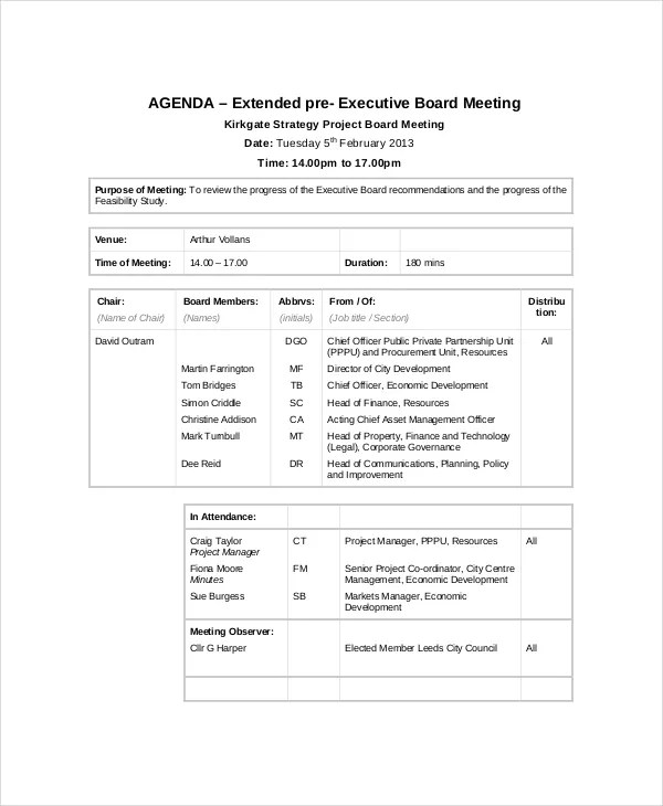 9+ Project Meeting Agenda Template - Word, PDF Free  Premium