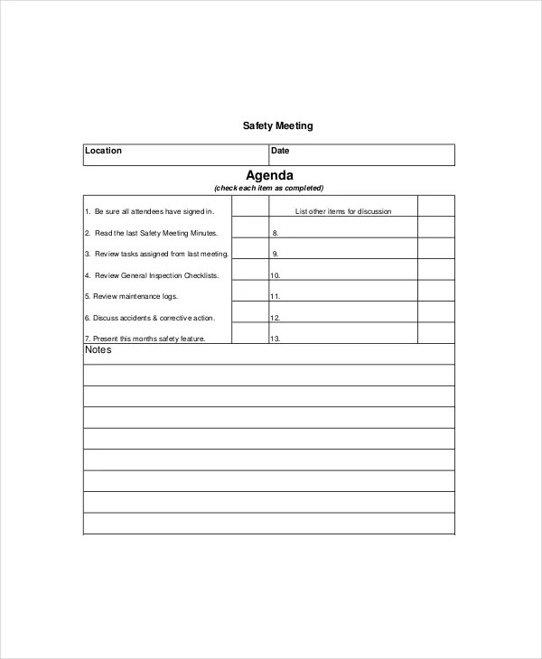 Safety Meeting Agenda Template u2013 8+ Free Word, PDF Documents - free meeting minutes template word