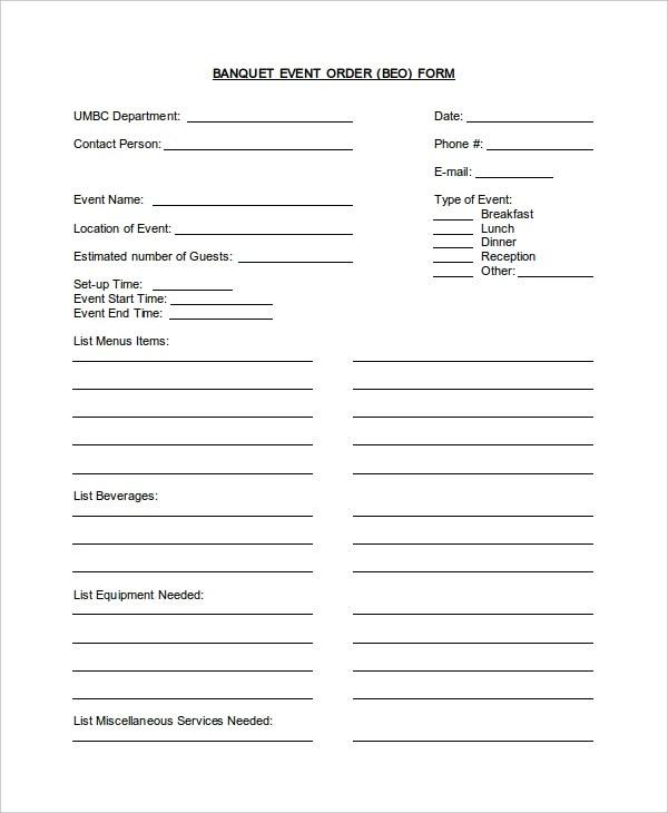 event order form – Service Order Form Template