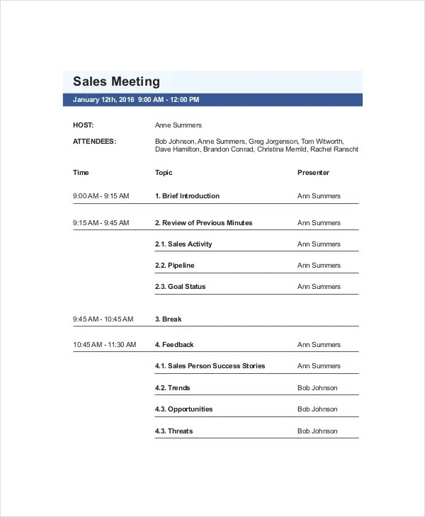 Sales Meeting Agenda Template \u2013 11+ Free Word, PDF Documents