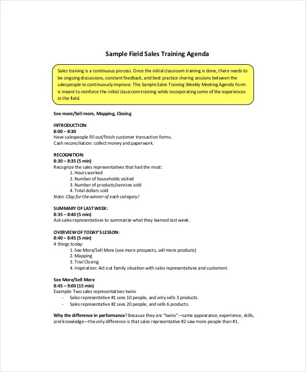 Sales Meeting Agenda Template u2013 11+ Free Word, PDF Documents - sample meeting agenda 2