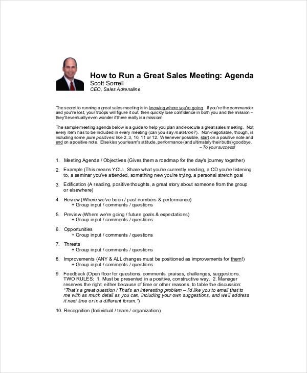 Sales Meeting Agenda Template \u2013 11+ Free Word, PDF Documents