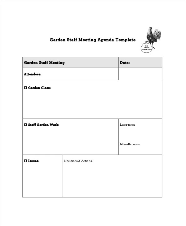 Staff Meeting Agenda Sample Professional And Elegant Meeting Agenda - meeting template sample