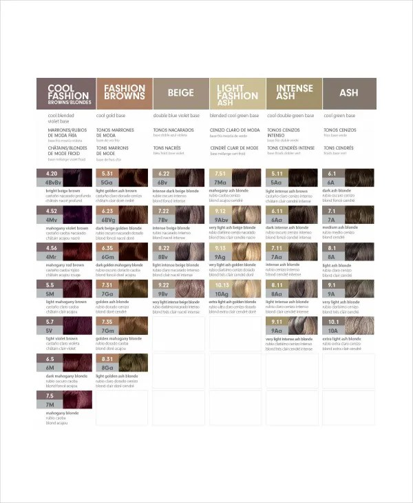 Hair Color Chart Template u2013 9+ Free Word, PDF Documents Download - color chart template