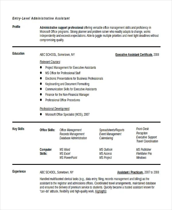 sample resume microsoft excel experience