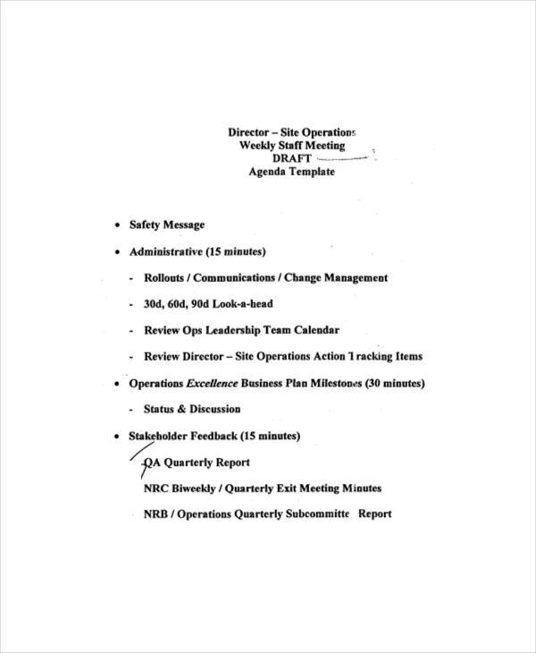 agenda draft template