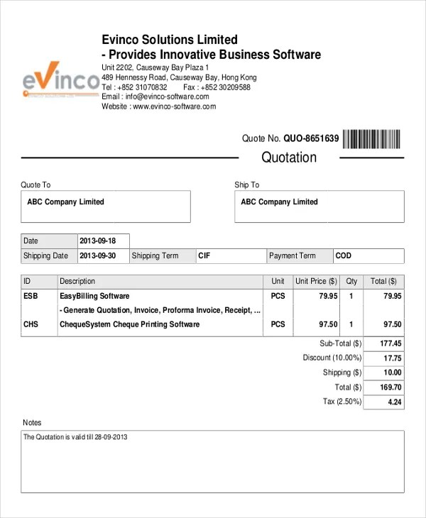 Quotations Format Quotation Example Gst Invoice Template Excel - sample invoice quotation