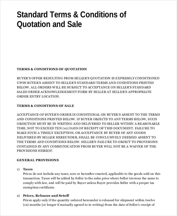 sales terms and conditions template free