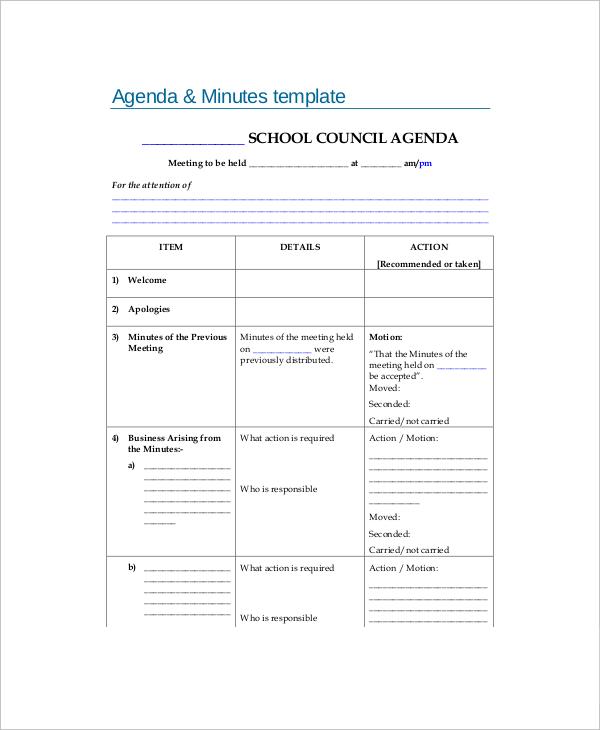 11+ Blank Meeting Agenda Templates \u2013 Free Sample, Example Format - blank agenda form