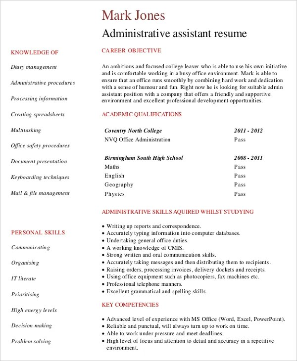 Entry Level Administrative Assistant Resume \u2013 7+ Free PDF Documents