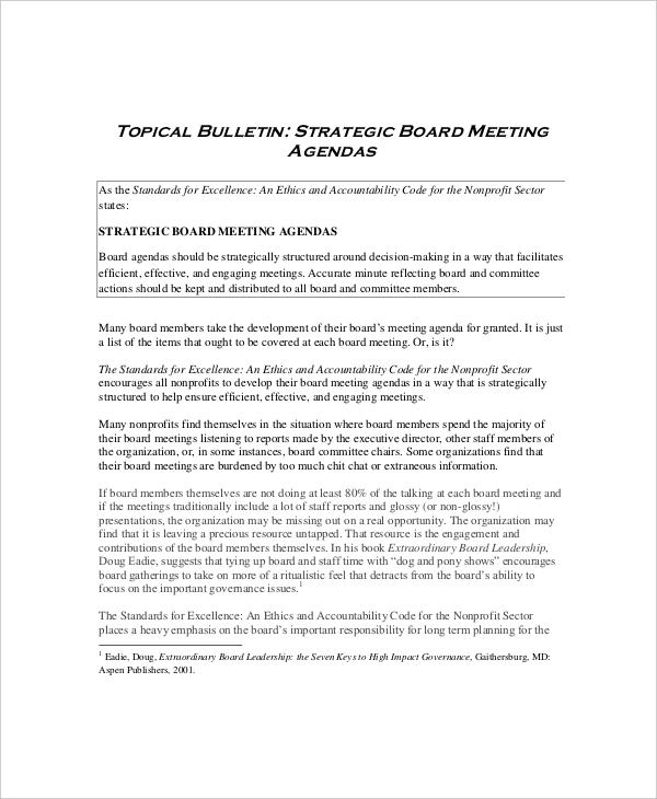8+ Board Meeting Agenda Templates \u2013 Free Sample, Example Format