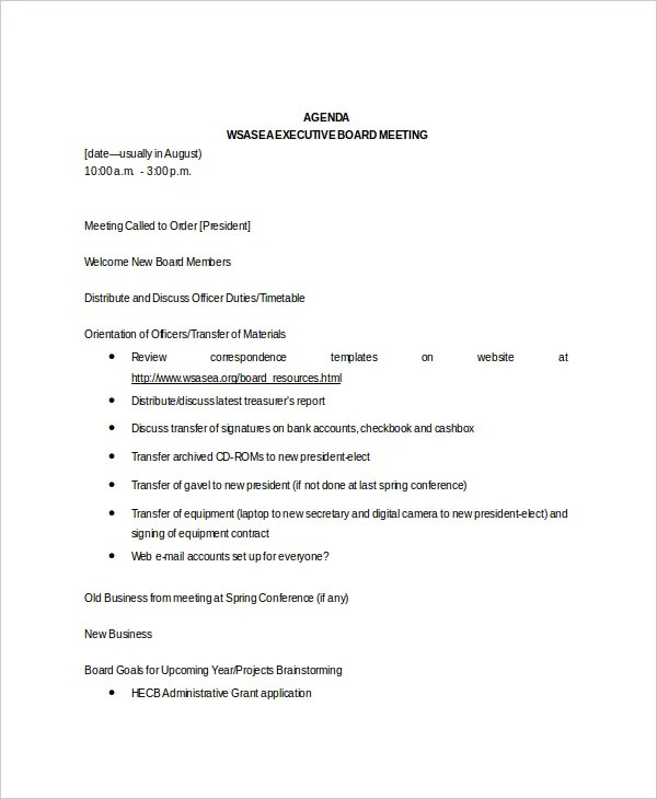 8+ Board Meeting Agenda Templates \u2013 Free Sample, Example Format - meeting agenda outline