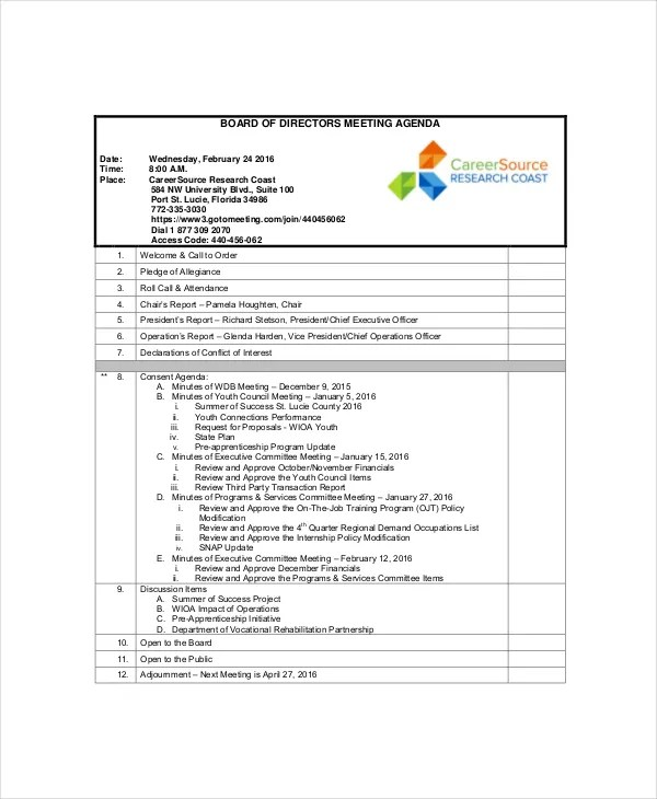 12+ Board of Directors Meeting Agenda Templates \u2013 Free Sample