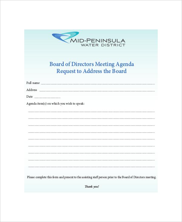 Sample Board Meeting Agenda Sample Business Meeting Agenda  Baby - sample board meeting agenda