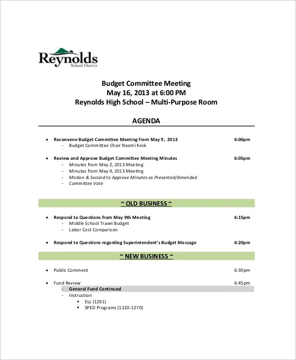 12+ Budget Meeting Agenda Templates \u2013 Free Sample, Example Format