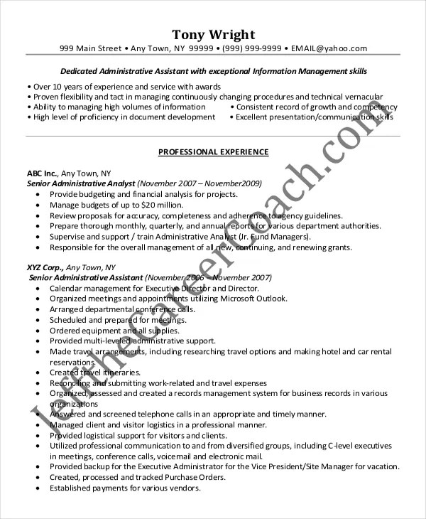 Senior Administrative Assistant Resume \u2013 10+ Free Word, PDF