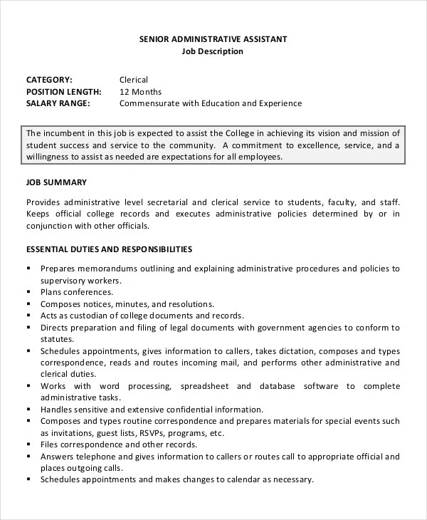 Senior Administrative Assistant Resume \u2013 10+ Free Word, PDF - resume template for job application