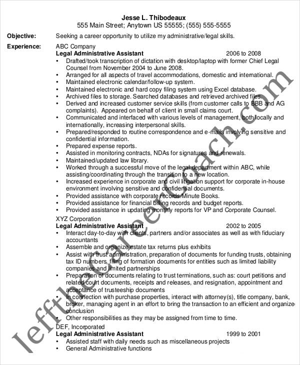 Legal Administrative Assistant Resume \u2013 7+ Free PDF Documents - legal administrative assistant resume