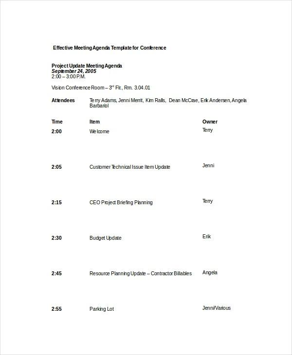 12+ Effective Meeting Agenda Templates \u2013 Free Sample, Example Format