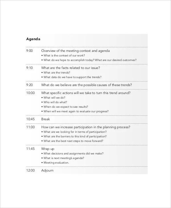 meeting agenda examples - Minimfagency