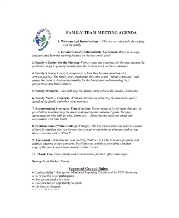 8+ Family Meeting Agenda Templates u2013 Free Sample, Example Format - sample meeting agenda 2