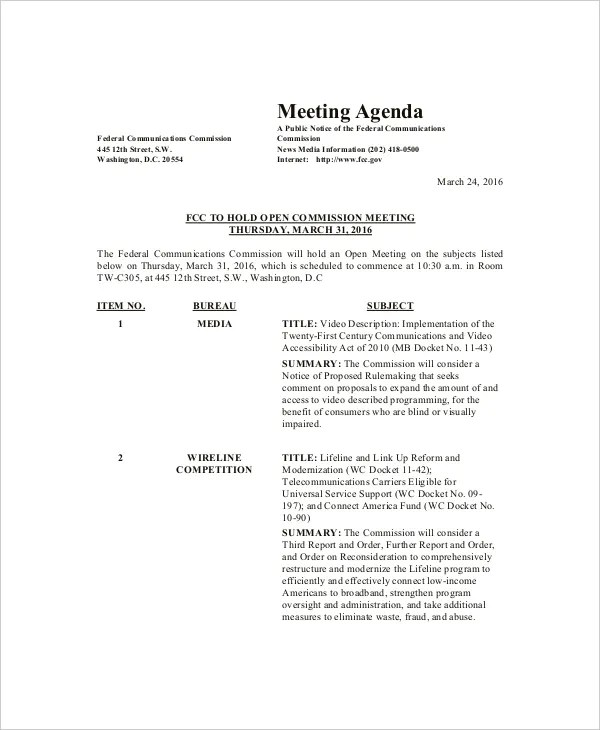 Family Meeting Agenda Template \u2013 8+ Free Word, PDF Documents - format of meeting agenda