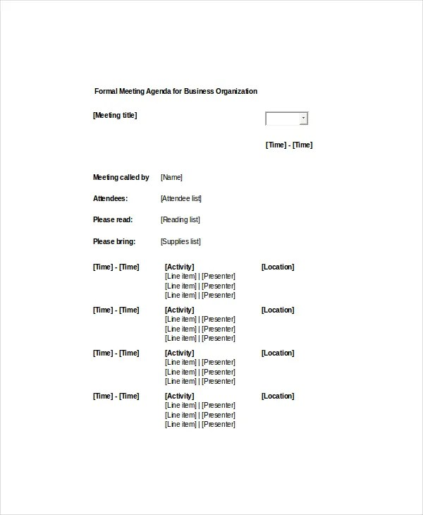 9+ Formal Meeting Agenda Templates - PDF, DOC Free  Premium Templates - format of meeting agenda