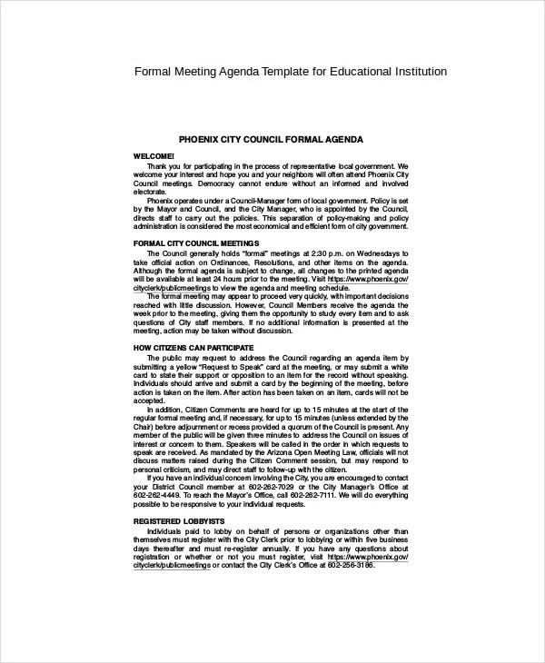 9+ Formal Meeting Agenda Templates - PDF, DOC Free  Premium Templates - formal agenda template