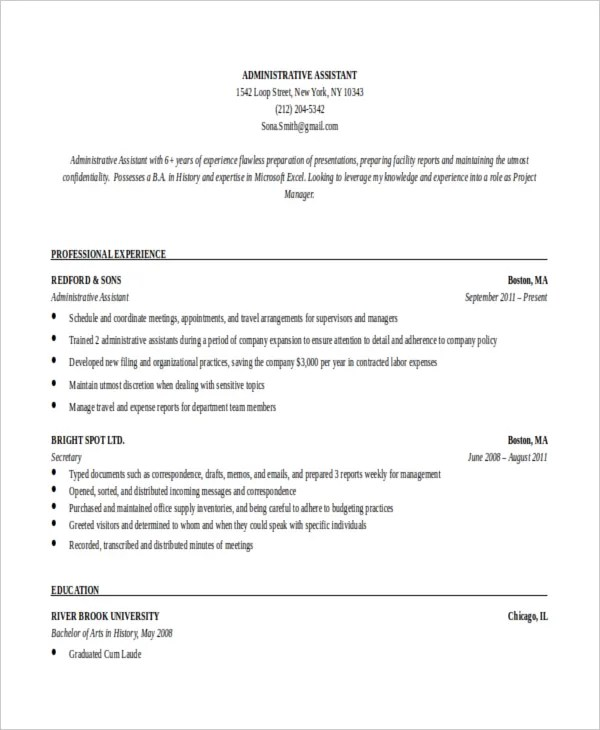 executive assistant resume template word - Boatjeremyeaton - resume templates for administrative assistant