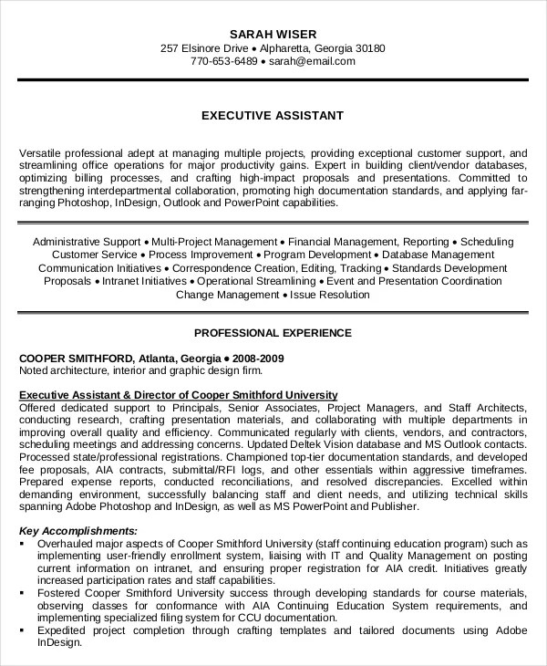 10+ Executive Administrative Assistant Resume Templates \u2013 Free - Executive Assistant Resume Templates