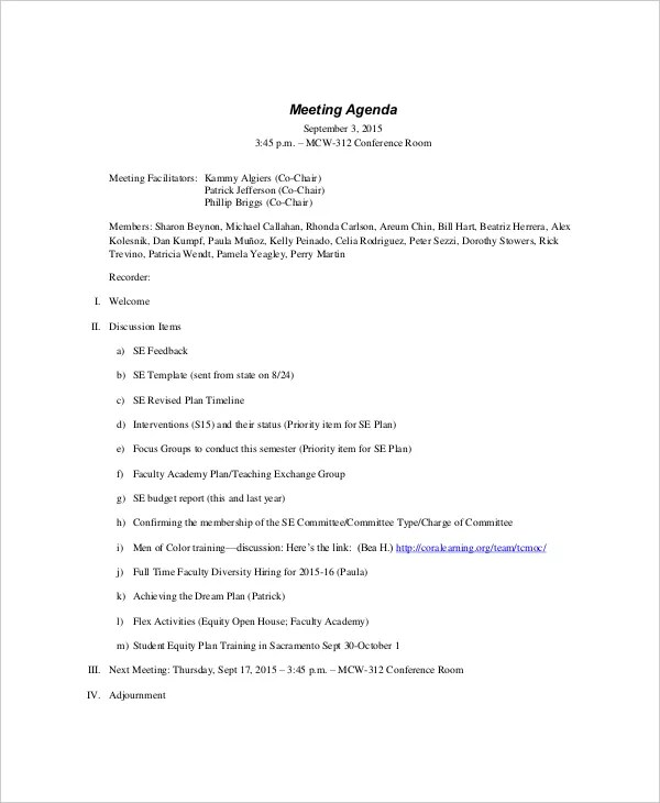 meeting agendas examples - Boatjeremyeaton - Meeting Outline Sample