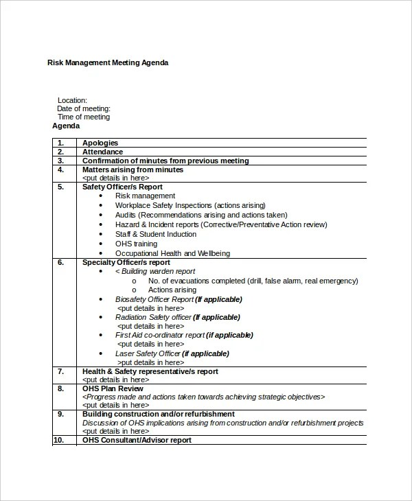 10+ Management Meeting Agenda Templates \u2013 Free Sample, Example