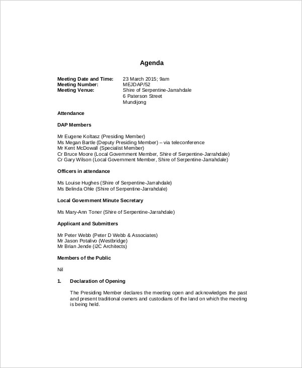 10+ Management Meeting Agenda Templates \u2013 Free Sample, Example - example of agenda of meeting
