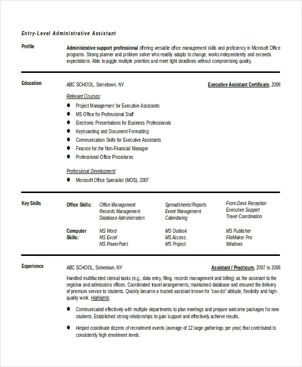 10+ Entry Level Administrative Assistant Resume Templates \u2013 Free - entry level sample resume