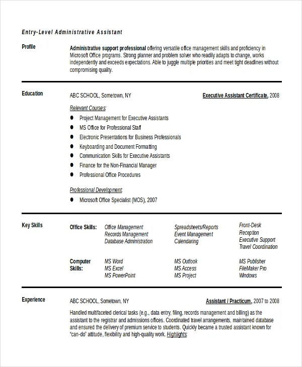 10+ Entry Level Administrative Assistant Resume Templates \u2013 Free - examples of resumes for administrative assistants