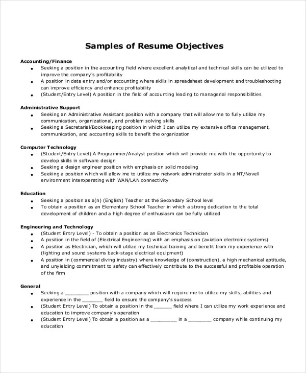 10+ Entry Level Administrative Assistant Resume Templates \u2013 Free - sample executive assistant resume objective