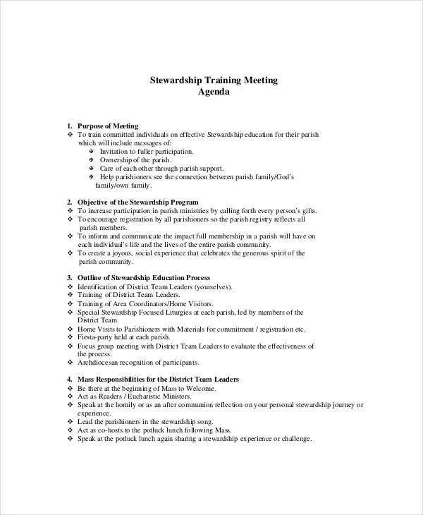 Sample Training Agenda  ResumeTemplatePaasproviderCom