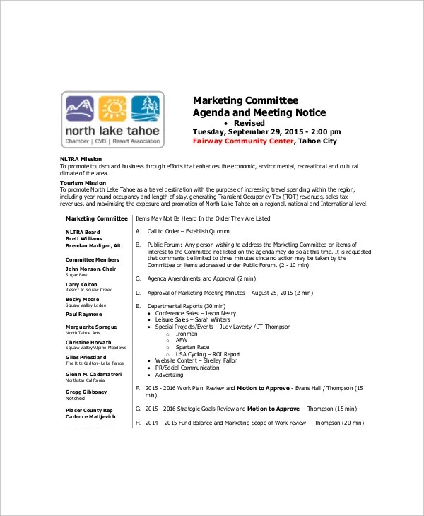 10+ Marketing Meeting Agenda Templates \u2013 Free Sample, Example Format