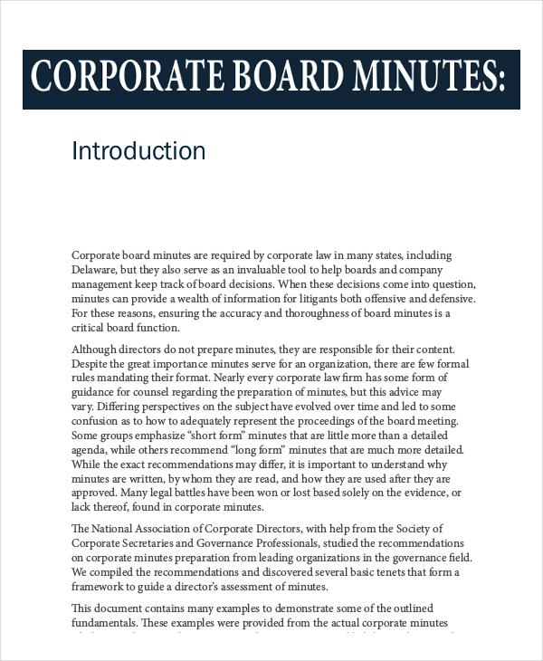 sample corporate meeting minutes meeting minutes sample format