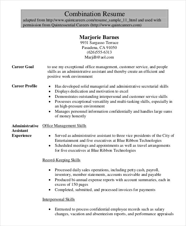 samples of combination resumes