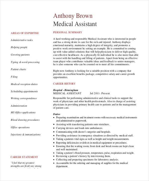 10+ Senior Administrative Assistant Resume Templates \u2013 Free Sample - Medical Assistant Resumes Samples